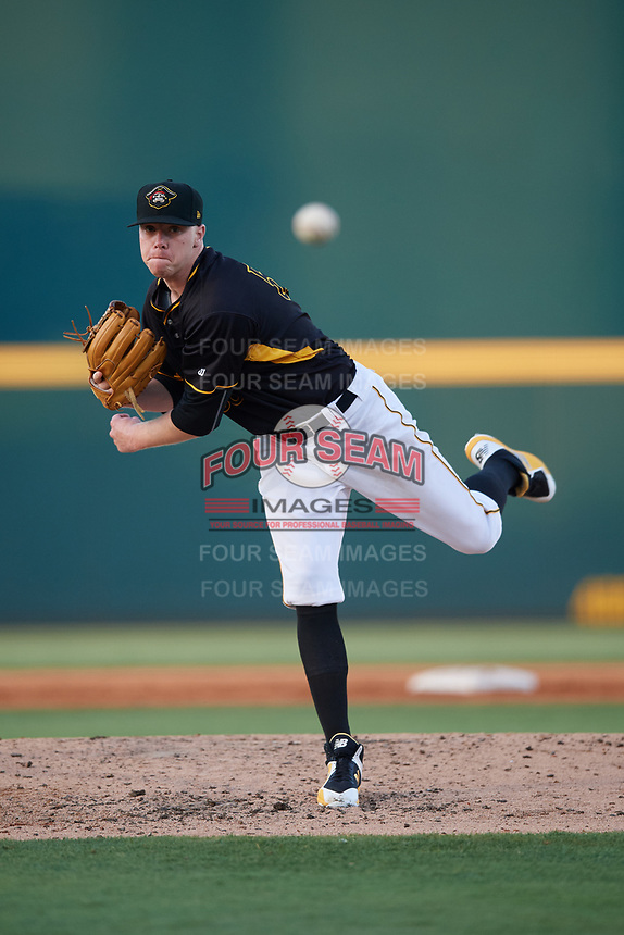 Bradenton Marauders starting pitcher Cam Vieaux (55) delivers a pitch during a game against the Dunedin Blue Jays on May 2, 2018 at LECOM Park in Bradenton, Florida.  Bradenton defeated Dunedin 6-3.  (Mike Janes/Four Seam Images)