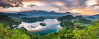 Lake Bled landscape at sunrise, seen from Osojnica Hill, Julian Alps, Gorenjska, Slovenia, Europe