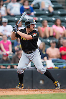 Jerrick Suiter (25) of the West Virginia Power at bat against the Hickory Crawdads at L.P. Frans Stadium on August 15, 2015 in Hickory, North Carolina.  The Power defeated the Crawdads 9-0.  (Brian Westerholt/Four Seam Images)