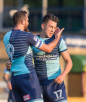 Luke O'Nien of Wycombe Wanderers celebrates his goal during the Friendly match between Wycombe Wanderers and AFC Wimbledon at Adams Park, High Wycombe, England on 25 July 2017. Photo by Kevin Prescod.