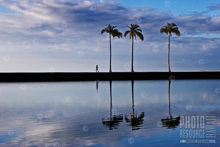 Runner enjoying a beautiful, pristine Hawaiian morning on O'ahu