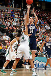 01 APRIL 2012:  Kelly Faris (34) of the University of Connecticut shoots over Skylar Diggins (4) of the University of Notre Dame during the Division I Women's Final Four Semifinals at the Pepsi Center in Denver, CO.  Notre Dame defeated UCONN 83-75 to advance to the national championship game.  Jamie Schwaberow/NCAA Photos