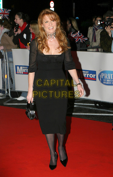 SARAH FERGUSON.Daily Mirror's Pride Of Britain Awards at the London Hilton, Park Lane.15 March 2004.full length, full-length, fergie, duchess of york, black dress.www.capitalpictures.com.sales@capitalpictures.com.© Capital Pictures.