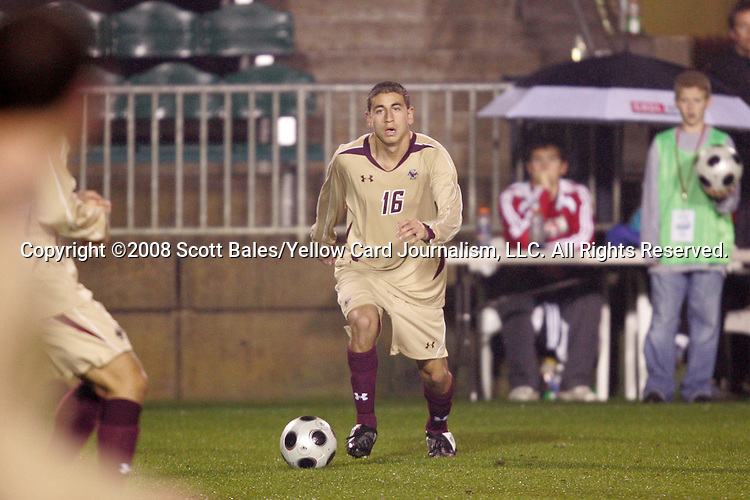 14 November 2008: Boston College's Alejandro Bedoya. The University of Maryland defeated Boston College 1-0 at WakeMed Stadium at WakeMed Soccer Park in Cary, NC in a men's ACC tournament semifinal game.