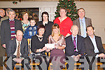 PRESENTATION: Karyn Moriarty of Samhlaiocht presenting a cheque to Theresa Looney of the Kerry Branch of the Irish Kidney Association from monies raised from the screening of a Tale of Two Kidneys at the Kerry Film Festival at the Kerry Branch of the Irish Kidney Association Christmas Party at the Earl of Desmond hotel on Sunday seated l-r: Patrick O'Donoghue (chairman K.B.I.K.A.), Theresa Looney (patient support officer K.B.I.K.A.), Karyn Moriarty (Samhlaiocht), Michael Quinn and Tom Fleming. Back l-r: Tim Kelly, Eileen Flanagan, Michael O'Shea, Mary O'Shea, Sheila Kelly (Kerry Film Festival) and Lawrence Kelly.
