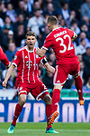 Thomas Muller of FC Bayern Munich and teammate Joshua Kimmich celebrate Kimmich's first goal for their team during the UEFA Champions League Semi-final 2nd leg match between Real Madrid and Bayern Munich at the Estadio Santiago Bernabeu on May 01 2018 in Madrid, Spain. Photo by Diego Souto / Power Sport Images