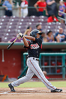 B.J. Guinn #23 of the Lake Elsinore Storm bats against the Inland Empire 66'ers at San Manuel Stadium on June 23, 2013 in San Bernardino, California. Lake Elsinore defeated Inland Empire, 6-2. (Larry Goren/Four Seam Images)