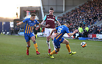 West Ham United's Declan Rice attacks Shrewsbury Town's Ben Godfrey and James Bolton<br /> <br /> Photographer Rob Newell/CameraSport<br /> <br /> The Emirates FA Cup Third Round - Shrewsbury Town v West Ham United - Sunday 7th January 2018 - New Meadow - Shrewsbury<br />  <br /> World Copyright &copy; 2018 CameraSport. All rights reserved. 43 Linden Ave. Countesthorpe. Leicester. England. LE8 5PG - Tel: +44 (0) 116 277 4147 - admin@camerasport.com - www.camerasport.com