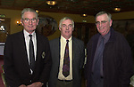 The Kerry GAA Coaching and Games Development Committee held an appreciation night in the Earl of Desmond Hotel Tralee for teachers and  GAA workers in schools in recognition of their work in promoting and developing GAA games in schools. From left are Teddy O'Sullivan, Co. Board, Joe Kelly, Tralee Community College and Brother John Guinane, Miltown Presentation.<br />Picture: Eamonn Keogh (MacMonagle,Killarney)