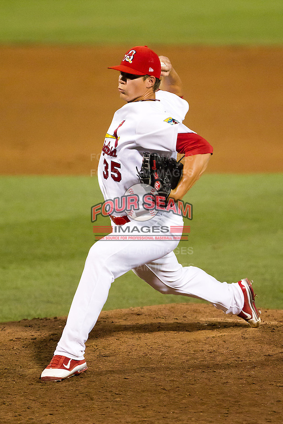 Kevin Thomas (35) of the Springfield Cardinals delivers a pitch during a game against the Tulsa Drillers at Hammons Field on July 20, 2011 in Springfield, Missouri. Springfield defeated Tulsa 12-1. (David Welker / Four Seam Images)