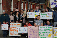 Supporters of the Circuit of Wales racing track that is proposed for Ebbw Vale, Blaenau Gwent. Most of these are students who attend the Ebbw Vale college <br /> <br /> Jeff Thomas Photography -  www.jaypics.photoshelter.com - <br /> e-mail swansea1001@hotmail.co.uk -<br /> Mob: 07837 386244 -