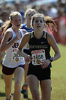 NWA Democrat-Gazette/ANDY SHUPE<br /> Bentonville's Emily Robinson nears the finish line Saturday, Oct. 5, 2019, during the Chile Pepper Cross Country Festival at Agri Park in Fayetteville. Visit nwadg.com/photos to see more photographs from the races.