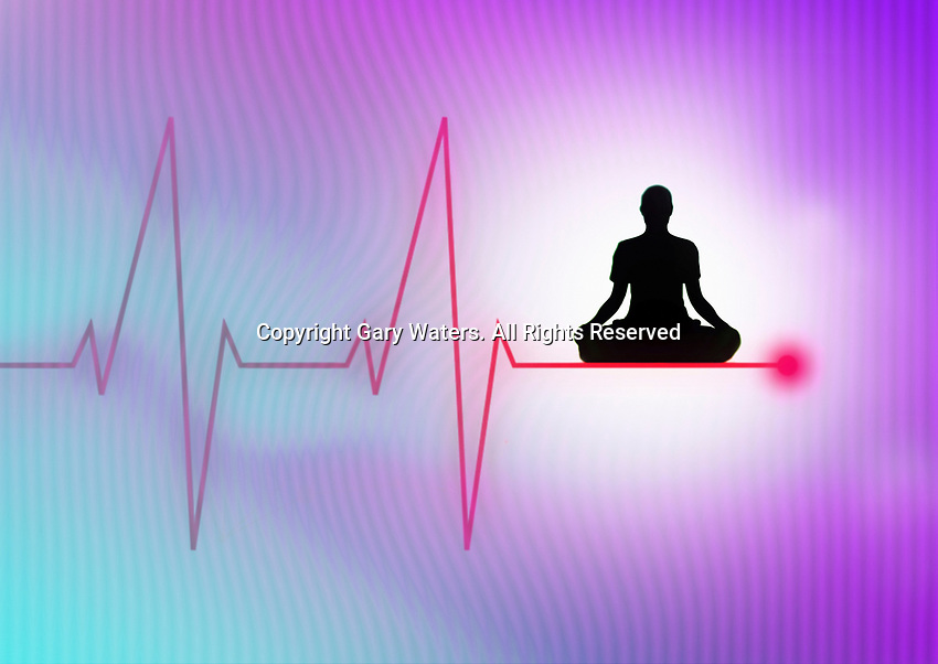 Woman meditating on pulse trace