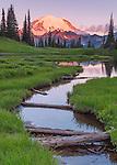 Mount Rainier National Park, WA: Dawn light on Mount Rainier from Upper Tipsoo Lake