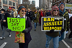 "These women were among hundreds of Seattle residents who marched from Westlake Center Park to the Seattle Center on January 13, 2013, calling for stricter regulations of firearms. Sponsored by a network of churches and other groups called ""Stand-up Washington,"" the demonstrators called for a state ban on semi-automatic weapons as well as stricter gun laws."