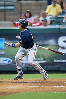 Trey Cabbage (45) of the Elizabethton Twins follows through on his swing against the Pulaski Yankees at Calfee Park on July 25, 2016 in Pulaski, Virginia.  The Twins defeated the Yankees 6-1.  (Brian Westerholt/Four Seam Images)
