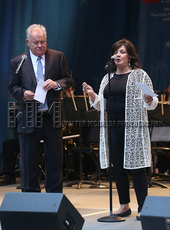 Robert E. Wankel and Charlotte St. Martin on stage at United Airlines Presents #StarsInTheAlley free outdoor concert in Shubert Alley on 6/2/2017 in New York City.