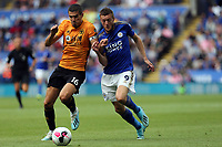 Jamie Vardy of Leicester City and Conor Coady of Wolverhampton Wanderers during Leicester City vs Wolverhampton Wanderers, Premier League Football at the King Power Stadium on 11th August 2019
