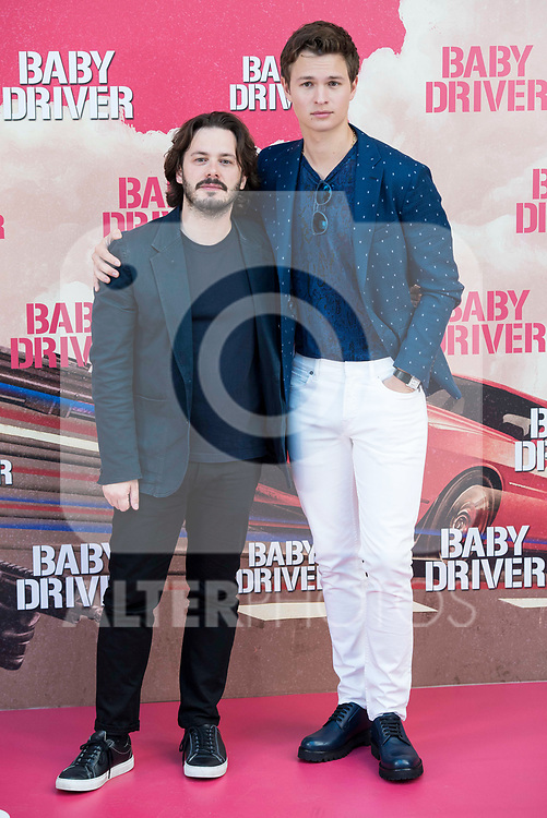 Director of the film, Edgar Wright and american actor Ansel Elgort attends to the presentation of the film 'Baby Driver' at Villa Magna Hotel in Madrid, June 23, 2017. Spain.<br /> (ALTERPHOTOS/BorjaB.Hojas)