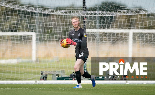 Goalkeeper Cameron Yates of Wycombe Wanderers during the behind closed doors friendly between Brentford B and Wycombe Wanderers at Brentford Football Club Training Ground & Academy, 100 Jersey Road, TW5 0TP, United Kingdom on 3 September 2019. Photo by Andy Rowland.