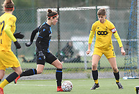 20200329 – BRUGGE, BELGIUM : Charlotte Laridon pictured with Maurane Marinucci during a women soccer game between Dames Club Brugge and Standard Femina de Liege on the 17 th matchday of the Belgian Superleague season 2019-2020 , the Belgian women's football  top division , saturday 29 th February 2020 at the Jan Breydelstadium – terrain 4  in Brugge  , Belgium  .  PHOTO SPORTPIX.BE | DAVID CATRY