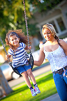 Hispanic Mom And Daughter At George Washington Park Anaheim