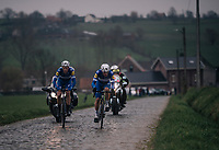 Yves Lampaert (BEL/Quick Step Floors) leading the race together with teammate Niki Terpstra (NED/Quick-Step Floors) up the Stationsberg cobbles<br /> <br /> 61th E3 Harelbeke (1.UWT)<br /> Harelbeke - Harelbeke (206km)