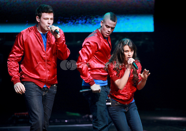 Cory Monteith, Mark Salling and Lea Michele performing at the Glee Concert Tour. The Gibson Amphitheatre at Universal City Walk in Los Angeles, California. May 20, 2010.Credit: Dennis Van Tine/MediaPunch