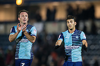 Garry Thompson of Wycombe Wanderers & Scott Kashket of Wycombe Wanderers during the Sky Bet League 2 match between Wycombe Wanderers and Hartlepool United at Adams Park, High Wycombe, England on 26 November 2016. Photo by Andy Rowland / PRiME Media Images.