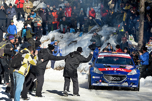 21.01.2016. Monte Carlo, Monaco. The Monte Carlo Rally 2016. The cars takes to the course.  SUAREZ