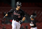 BOSTON, MA - APRIL 17: UMass' Anthony Videtto hits an RBI single against Harvard in the seventh inning during the 30th Annual Baseball Beanpot Championship Game at Fenway Park in Boston, Massachusetts on April 17, 2019. Photo by Christopher Evans