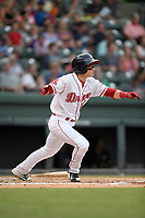 Designated hitter Brett Netzer (12) of the Greenville Drive runs out a batted ball in a game against the Asheville Tourists on Wednesday, August 2, 2017, at Fluor Field at the West End in Greenville, South Carolina. Greenville won, 1-0. (Tom Priddy/Four Seam Images)