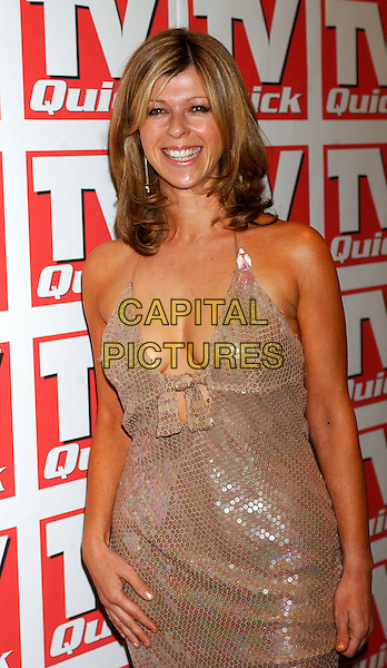 KATE GARRAWAY.TV Quick Awards 2004, Dorchester Hotel, London, .10th September 2004.half length  silver gold sequined sparkly dress tight clingy cleavage.Ref: BEL.www.capitalpictures.com.sales@capitalpictures.com.©Tom Belcher/Capital Pictures .