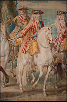 BNPS.co.uk (01202 558833)<br /> Pic: BlenheimPalace/BNPS<br /> <br /> Marlborough (White horse) during the War in Europe against Louis XIV as part of a magnificent tapestry at Blenheim Palace.<br /> <br /> Seat of Power - The First Duke of Marlborough&rsquo;s campaign chairs, upon which he sat to plot the downfall of the French King Louis XIV, are returning to Blenheim Palace following an 18-month restoration.<br />