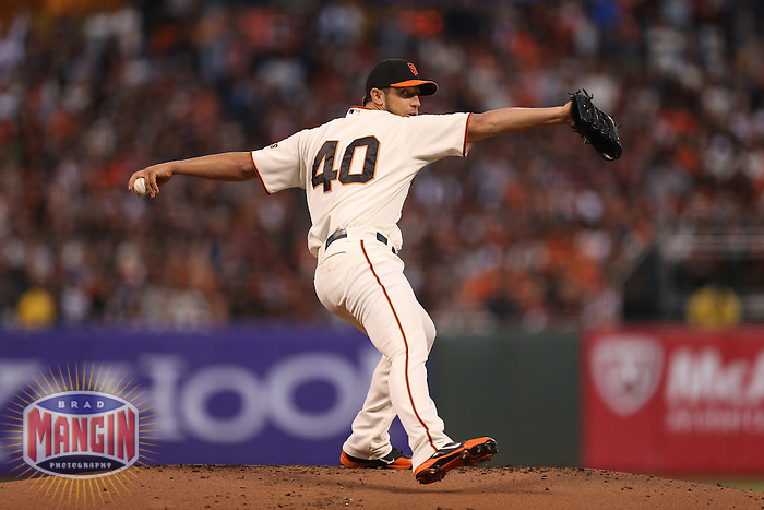 SAN FRANCISCO - OCTOBER 7:  Madison Bumgarner of the San Francisco Giants pitches during Game 2 of the NLDS against the Cincinnati Reds at AT&T Park on October 7, 2012 in San Francisco, California. (Photo by Brad Mangin)