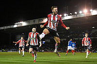 Josh Hancock of Altrincham scores and celebrates after making the score 1-1 during Portsmouth vs Altrincham, Emirates FA Cup Football at Fratton Park on 30th November 2019