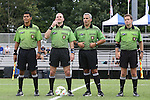 07 September 2014: Match officials. From left: Assistant referee Gustavo Solorio, referee Ted Unkel, fourth official Brian Saucedo, assistant referee Benjamin Wooten. The Duke University Blue Devils hosted the Penn State University Nittany Lions at Koskinen Stadium in Durham, North Carolina in a 2014 NCAA Division I Women's Soccer match. PSU won the game 4-3.