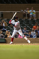 Scottsdale Scorpions shortstop Alfredo Rodriguez (3), of the Cincinnati Reds organization, at bat during an Arizona Fall League game against the Salt River Rafters at Salt River Fields at Talking Stick on October 11, 2018 in Scottsdale, Arizona. Salt River defeated Scottsdale 7-6. (Zachary Lucy/Four Seam Images)