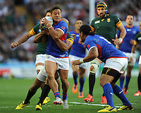 Tim Nanai-Williams of Samoa in action during Match 15 of the Rugby World Cup 2015 between South Africa and Samoa - 26/09/2015 - Villa Park, Birmingham<br /> Mandatory Credit: Rob Munro/Stewart Communications