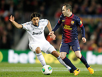FC Barcelona's Andres Iniesta (r) and Real Madrid's Sami Khedira during Copa del Rey - King's Cup semifinal second match.February 26,2013. (ALTERPHOTOS/Acero) /Nortephoto