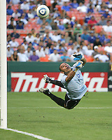Dagoberto Portillo #1 of El Salvador turns a shot around the post during an international charity match against D.C. United at RFK Stadium, on June 19 2010 in Washington DC. D.C. United won 1-0.