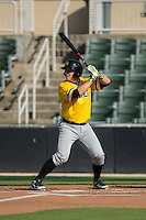 Taylor Gushue (17) of the West Virginia Power at bat against the Kannapolis Intimidators at CMC-Northeast Stadium on April 21, 2015 in Kannapolis, North Carolina.  The Power defeated the Intimidators 5-3 in game one of a double-header.  (Brian Westerholt/Four Seam Images)