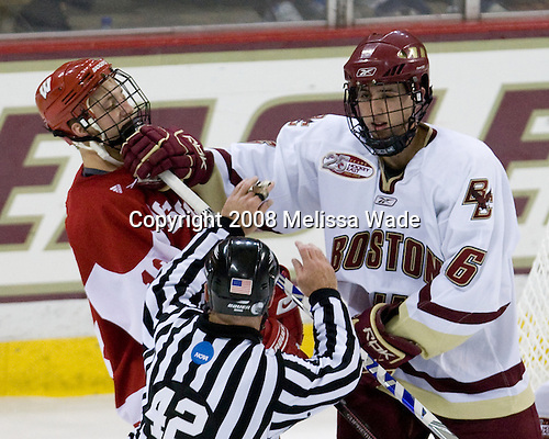 Matt Thurber (Wisconsin - 12), Tim Kunes (Boston College - 6) - The Boston College Eagles defeated the University of Wisconsin Badgers 5-4 on Friday, October 10, 2008 after raising their 2008 National Championship banner at Kelley Rink in Conte Forum in Chestnut Hill, Massachusetts.