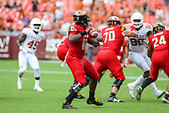 Landover, MD - September 1, 2018: Maryland Terrapins quarterback Kasim Hill (11) throws a pass during the game between Texas and Maryland at  FedEx Field in Landover, MD.  (Photo by Elliott Brown/Media Images International)