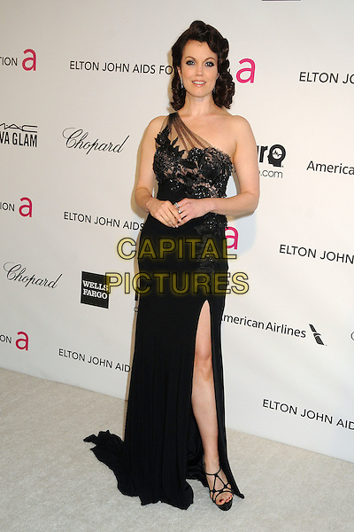 Bellamy Young.21st Annual Elton John Academy Awards Viewing Party held at West Hollywood Park, West Hollywood, California, USA..February 24th, 2013.oscars full length black one shoulder slit split lace dress sheer.CAP/ADM/BP.©Byron Purvis/AdMedia/Capital Pictures.