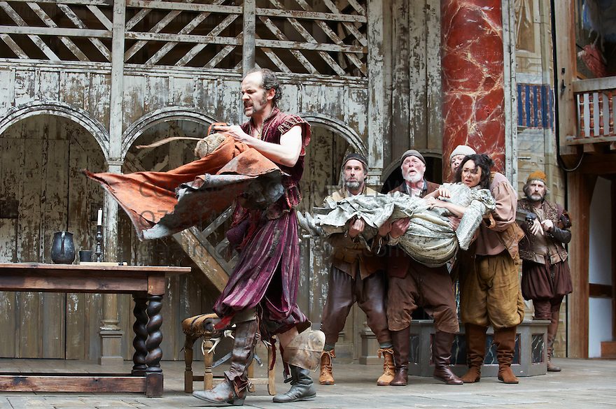 The Taming of The Shrew by William Shakespeare, A  Shakespeare's Globe Production directed by Toby Frow. With , Simon Paisley Day as Petruchio Samantha Spiro as Kate,Tom Anderson as Curtis, David Beames as Servant, Chris Keegan as Nathaniel ,Pearce Quigley as Grumo. Opens at Shakespeare's Globe Theatre  on 4/7/12.CREDIT Geraint Lewis