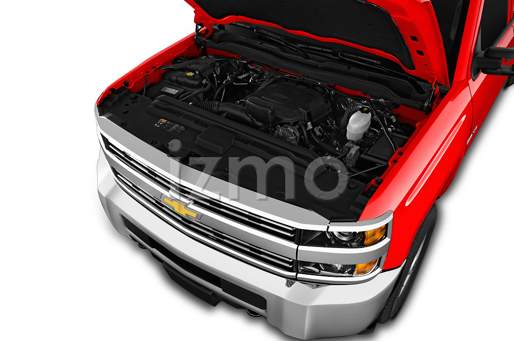 Car stock 2018 Chevrolet Silverado 2500HD Work Truck Long Box Double Cab 4 Door Pick Up engine high angle detail view