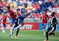 SANDY, UT - July 13, 2013: Costa Rica National Team defender Junior Diaz (15) during the Costa Rica vs Belize match at Rio Tinto Stadium in Sandy, Utah. Final score Costa Rica 1, Belize 0.