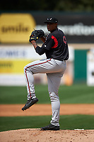 Lake Elsinore Storm starting pitcher Reggie Lawson (9) delivers a pitch during a California League game against the Rancho Cucamonga Quakes at LoanMart Field on May 20, 2018 in Rancho Cucamonga, California. Rancho Cucamonga defeated Lake Elsinore 6-2. (Zachary Lucy/Four Seam Images)