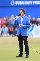 Shane O'Donoghue hosts the trophy presentation at the end of Sunday's Final Round of the 2018 Dubai Duty Free Irish Open, held at Ballyliffin Golf Club, Ireland. 8th July 2018.<br /> Picture: Eoin Clarke | Golffile<br /> <br /> <br /> All photos usage must carry mandatory copyright credit (&copy; Golffile | Eoin Clarke)